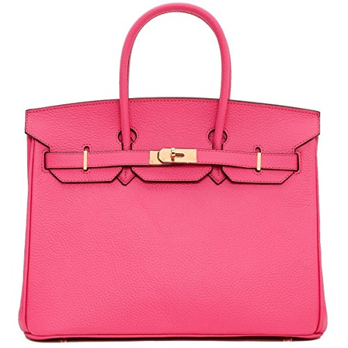 Genuine Handbags Classic Top And European Leather Gshga Pink American Lock Handle qFn8ffwSx