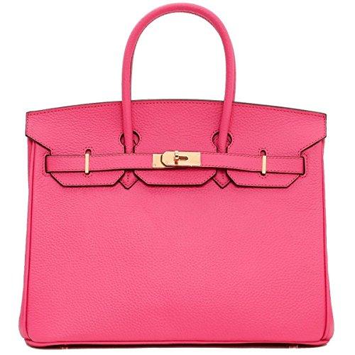 Pink Padlock Handle Handbags GSHGA European And Leather Top Genuine American Classic wqPvIx
