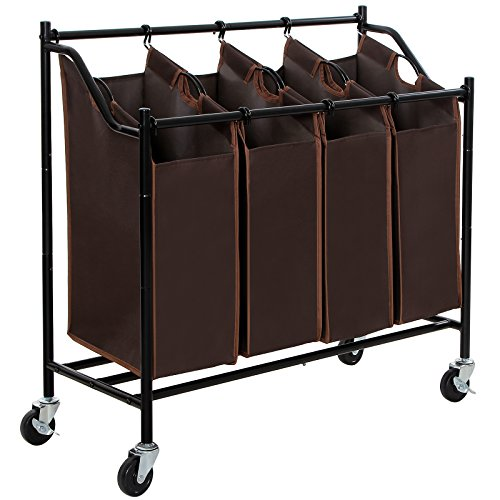 SONGMICS 4-Bag Rolling Laundry Sorter Cart Heavy-Duty Sorting Hamper W' Brake Casters Brown