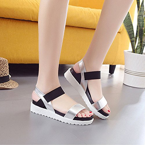 WINWINTOM Women Aged Flat Fashion Sandals Comfortable Summer Sandals Silver Wfpa0BY