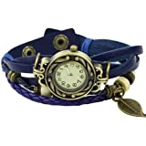 Sanwood Women's Bracelet Tree leaf Decoration Quartz Wrist Watch Blue