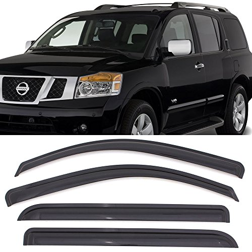 Window Visor fits 2004-2016 Nissan Armada | Acrylic Unpainted Black Sun Rain Shade Guard Wind Vent Air Deflector by IKON MOTORSPORTS | 2005 2006 2007 2008 2009 2010 2011 2012 2013 2014 2015