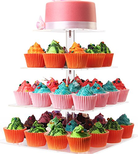 WSCS 4 Tiers Acrylic Square Maypole Clear Cupcake Stand,Cupcake and Dessert Display Stand