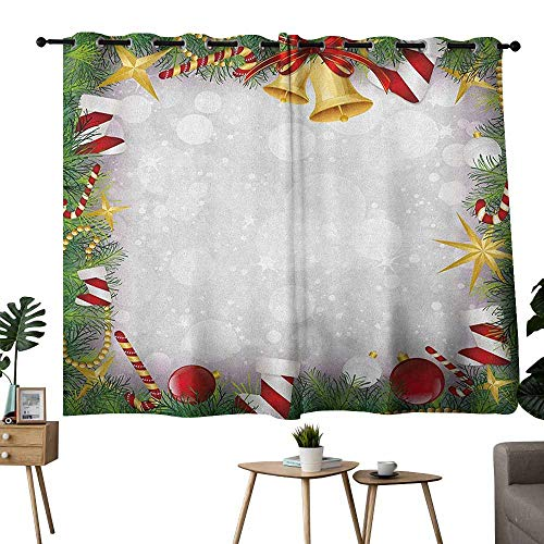 (Mannwarehouse Christmas Soft Curtain Xmas Eve Carol Theme Frame Pine Spikes Candy Jingle Hand Bells and Ribbon Image Darkening and Thermal Insulating 55
