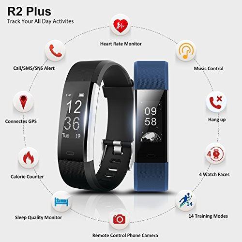 Ronten Fitness Tracker - R2 Plus Heart Rate Monitor Waterproof Activity Tracker - Bluetooth Wireless Smart Bracelet with Replacement Strap for Android and IOS Smartphones - Black Plus Blue (Band)