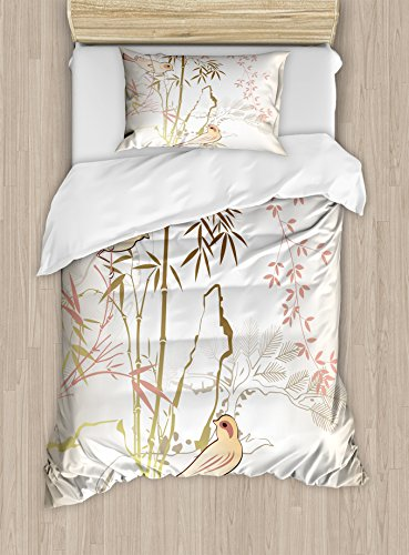 Vintage Bamboo Decor Twin Size Duvet Cover Set by Ambesonne, Nature Bamboo Leaf and Bird Design Illustration Floral Animal Print, Decorative 2 Piece Bedding Set with 1 Pillow Sham