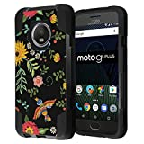 Moto G5 Plus Case, Capsule-Case Hybrid Fusion Dual Layer Shockproof Combat Kickstand Case (Black) for Motorola Moto G5 Plus / Moto G Plus 5th Gen, XT1687 - (Embroidery Flower Print)