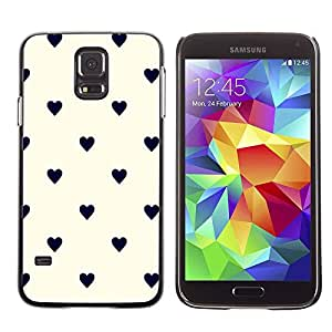 Paccase / SLIM PC / Aliminium Casa Carcasa Funda Case Cover - Dot Heart Pattern Black Beige - Samsung Galaxy S5 SM-G900