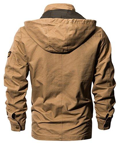 Militaire À poche Capuche Homme Blouson Manches Noir Veste Longues Léger En Multi Coton Ruiyuns SCxvwf