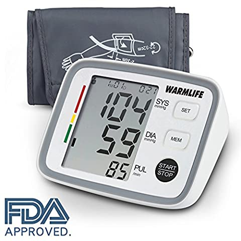 Warmlife Automatic Digital Upper Arm Blood Pressure Monitor with Cuff, FDA Approved (White) - Automatic Arm