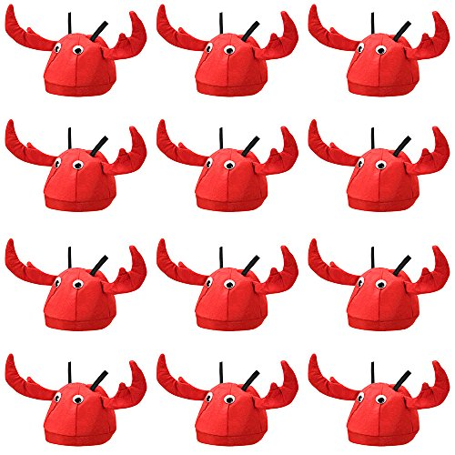 12-Pack Lobster Hat Halloween Costume Accessory - Dress Up Theme Party Roleplay & Cosplay Headwear ()