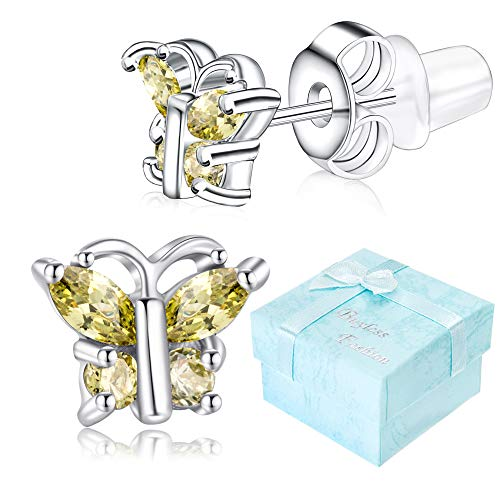 Buyless Fashion Girls Butterfly Birthstone Stud Earrings Cubic Zirconia Jewelry - E124BBAUG