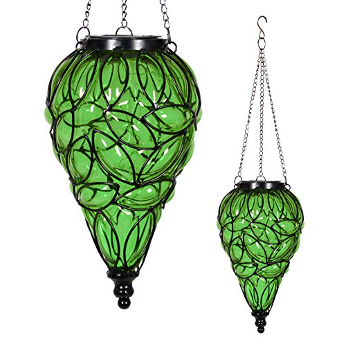 Exhart Green Solar Lantern – Glass Tear-Shaped Hanging Lantern – Teardrop Glass Ceiling Lantern Hangs in a Metal Cage w/ 12 Blue LED Firefly Solar Lights 7