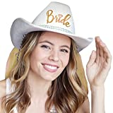 Country Western Gold 'Bride' White Hat with Gold Veil - Cowgirl Bachelorette Party or Bridal Shower Accessory
