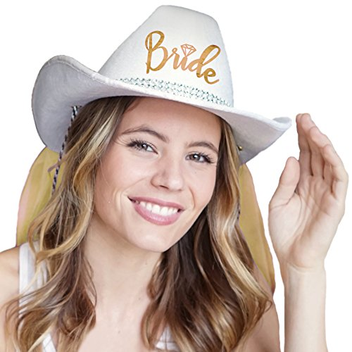 Country Western Gold 'Bride' White Hat with Gold Veil - Cowgirl Bachelorette Party or Bridal Shower Accessory -