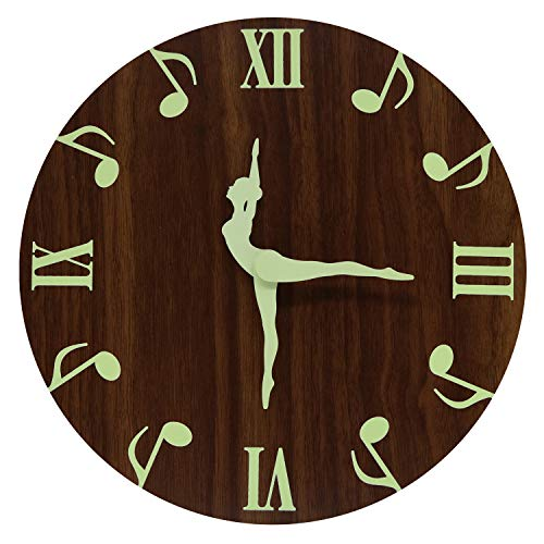 HENG DA SI Wood Luminous Wall Clock 12 Inch Silent Non-Ticking Battery Operated Easy to Read Round Modern Style for Kitchen Living Room Bedroom