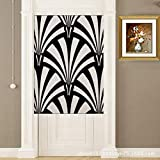 YJBear Cotton Linen Black and White Geometric Pattern Printed Doorway Curtain Home Decoration Door Curtain Bedroom Curtain Kitchen Curtain 2 Panels Set, 33.46″ X 59″