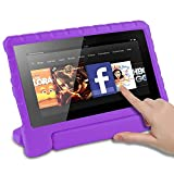 CAM-ULATA Fire HD 8 Tablet Case for Amazon Kindle Kids Edition 6th Generation 2016 Release Shockproof with Rotating Stand Handle Holder EVA Soft Kid proof Child Protective Cover Purple