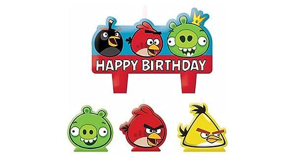 Amazon.com: Angry Birds – Velas de cumpleaños set de 4 ...
