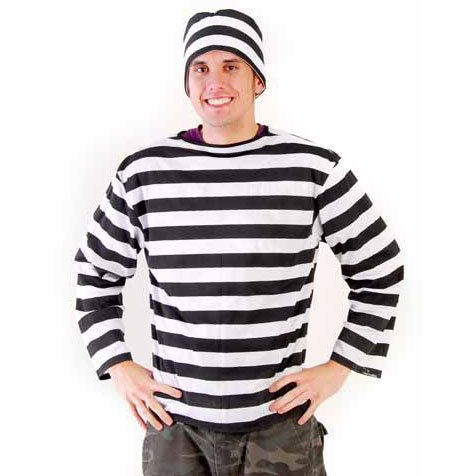 Amazon.com: Prisoner Striped Shirt - (Size - Large) Black and ...