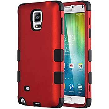 Note 4 Case, Galaxy Note 4 Case, ULAK Shock Resistance Anti Slip Note 4 Case Hybrid With Soft Flexible Inner Silicone Skin Protective Case for Samsung Galaxy Note 4(Red/Black)
