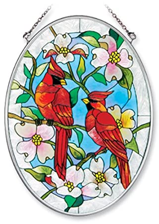 Amia Hand Painted Glass Suncatcher with Cardinal and Dogwood Design, 5-1/4-Inch by 7-Inch Oval