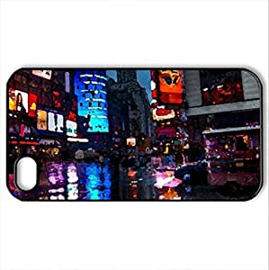 times square in the rain - Case Cover for iPhone 4 and 4s (Skyscrapers Series, Watercolor style, Black)