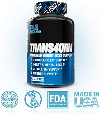 Evlution Nutrition Trans4orm - Complete Thermogenic Fat Burner for Weight Loss, Clean Energy and Focus with No Crash, Boost Metabolism, Suppress Appetite, Diet Pills (60 Servings) 6