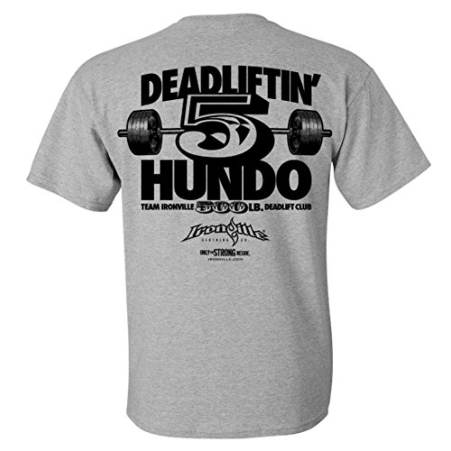 Ironville 500 Pound Deadlift Club T-Shirt 5 Hundo Series (3XL, sport gray)