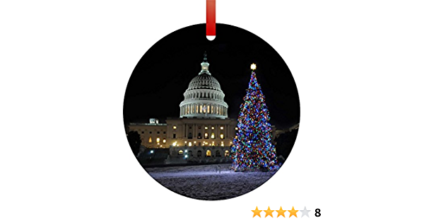 Amazon Com United States Capitol Washington D C On Christmas Eve Flat Round Shaped Aluminum Christmas Ornament With A Red Satin Ribbon Holiday Hanging Tree Ornament Double Sided Decoration Great Unisex Holiday Gift Made In The Usa Home Kitchen
