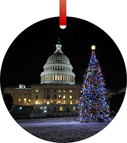 United States Capitol- Washington D.C.-on Christmas Eve-Flat Round-Shaped Aluminum Christmas Ornament with a Red Satin Ribbon/Holiday Hanging Tree Ornament/Double-Sided Decoration/Great Unisex Holiday Gift!-Made in the USA!
