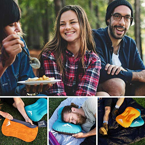 TheBigBlueMtn Ultralight Backpacking Inflatable Camping Pillow 2 Pack Set With Lightweight Compact Pouch Sack And Carabiner – Camp Hiking Summit Gear For Beach Sea Travel Hammock (Orange Blue, 2)