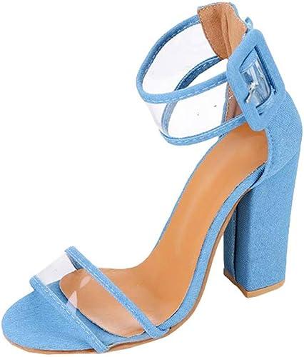 Juleya Damen Schuhe High Heels Sandalen Transparent Sandaletten Sommer Knöchelriemen Schuhe Riemchensandalen Peep Toe Pumps Offene Blockabsatz