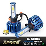 Xprite B2 Series CREE COB LED Headlight Conversion Kit with 6000K White, 8000K Blue Sleeves - 60W 5000lm - H1