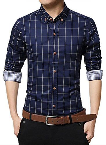 localmode Men's 100% Cotton Long Sleeve Plaid Slim Fit Button Down Dress Shirt, Navy Blue, X-Large