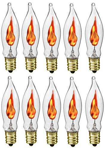 Flicker Flame Light Bulb for Halloween and Electric Menorah - 3 Watt, 120 volt, E12 Candelabra Base, Flame Shaped, Dances with a Flickering Orange Glow - Case of 10 Bulbs