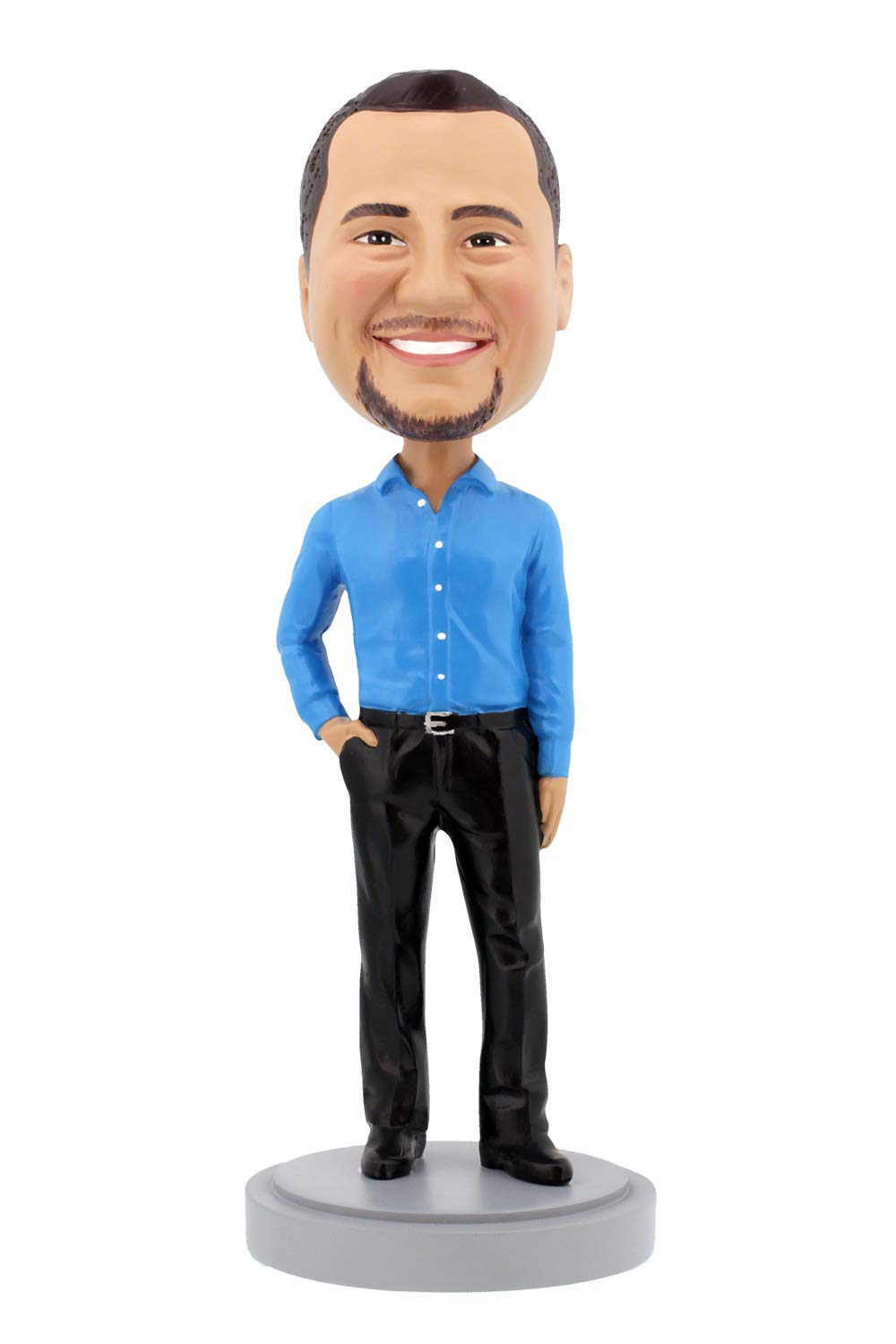 Custom Bobbleheads - Slender Male Executive with Hand in Pocket Body - Personalized Gifts