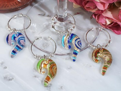 Murano Art Deco Collection Swirl Design Wine Charm Favors by FavorWarehouse