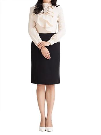 Choies Women's Polka Dot Pencil Skirt Floral Folded Front Pencil Midi Skirt