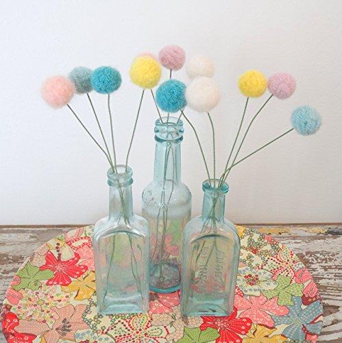 Pom Pom Flowers. Wool Pink,Purple, Turquoise Flowers. Faux, Fake Flowers. Nursery, Girls Room Bouquet. Cotton Candy, bubblegum pom poms.