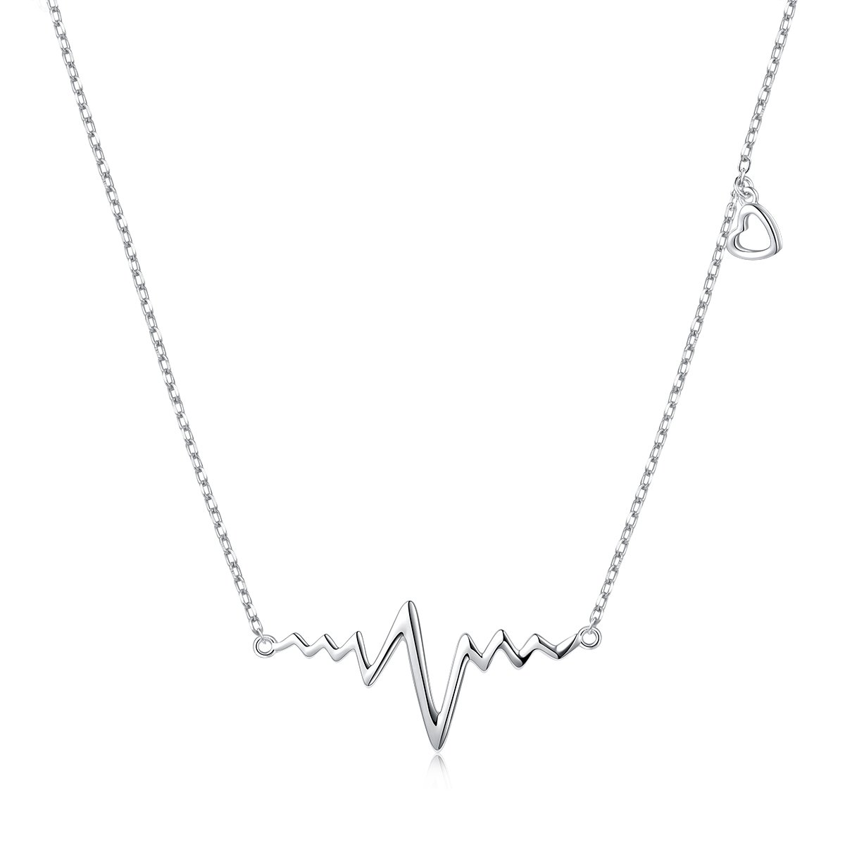 LINLIN FINE JEWELRY Heartbeat Necklace 925 Sterling Silver Infinity Love Cute Cardiogram Life Line Heart Charm EKG Heartbeat Necklace Gift for Women Girls,18'' (Sliver)