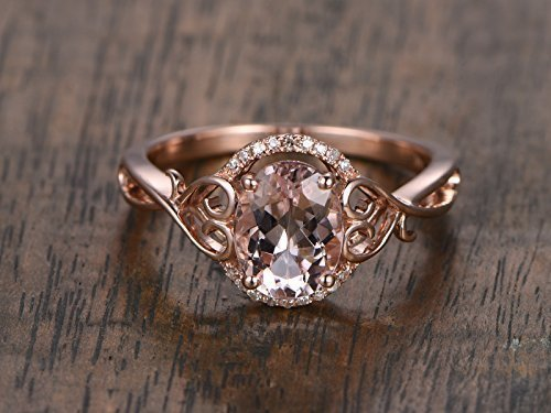 Antique Pink Morganite Engagement Ring Diamond Halo Solid 14k Rose Gold Vintage Unique 6x8mm Oval Cut Wedding Rings Retro Women Promise Anniversary Gift for Her ()