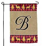 Cheap Home Garden Flags Monogram – Garden Flags Red Plaid Deer Trees Burlap – 12.5 x 18 (Letter F)