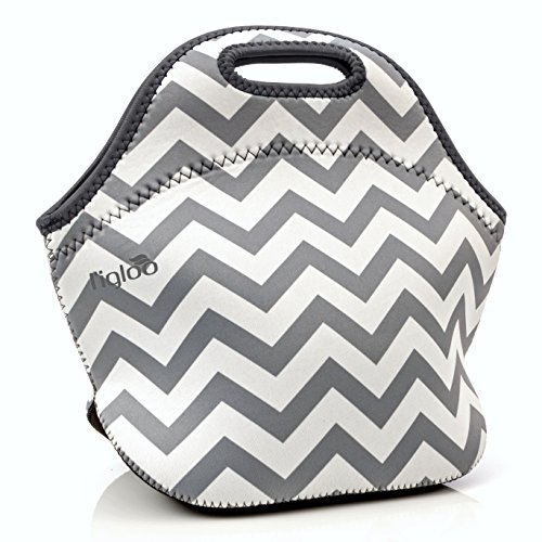 l'igloo Deluxe Neoprene Insulated Lunch Bag Extra Thick Insulated Lunch Box With Heavy Duty Zipper Lunch Bag, Snacks, Baby Bottle Bag, Bottle Carrier Six Pack (Gray chevron/drk gray trim)