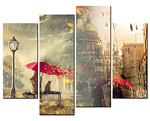 4 Panels Wall Art Decor Girl and Cat under Red Umbrella Rainy Day Europe Street Picture Print on Canvas for Living - Art Bronze Cat