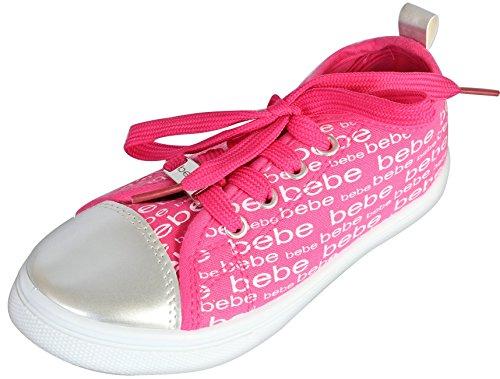(bebe Girls Low Top Canvas Fashion Sneakers (Toddler/Little Kid/Big Kid) (2-3 M US Little Kid, Fuchsia)')