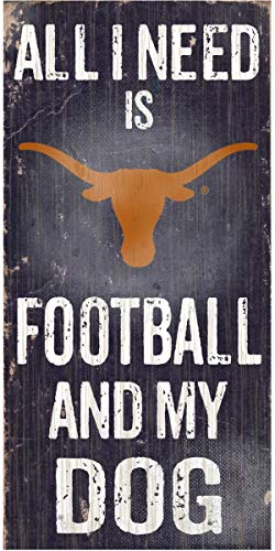 Texas Longhorns Fan - NCAA Official National Collegiate Athletic Association Fan Shop Authentic Wooden Signs -Stake Your Territory. Ideal for The Man Cave Dog Lover (Texas Longhorns - Football and Dog)