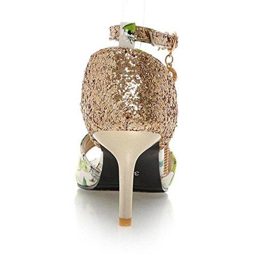 COOLCEPT Damen Elegant Knochelriemchen Sandalen Schuhe Green Floral