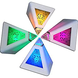 Backlight Alarm Clock (Triangular Pyramid) 1PC Fashion 7 Colors LED Pyramid Change Backlight Alarm Clock with Two Temperature Display Unit Support Music Alarm Clock and Sleepyhead Mode