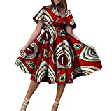 Womens Dashiki Big Pendulum Pleated Batik African A-Line Party Dress 2 3XL